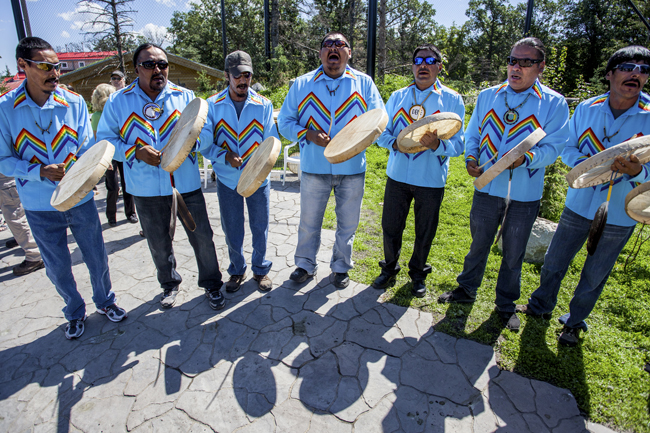 The North Man Dene Drum Group play as guests are welcomed to the new Journey to Churchill exhibit at the Assiniboine Park Zoo. Number TEN Architectural Group had a hand in the exhibit's design.